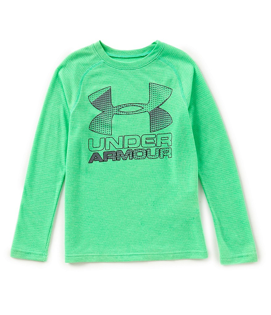 Under Armour Big Boys 8-20 Hybrid Big Logo Long-Sleeve Tee
