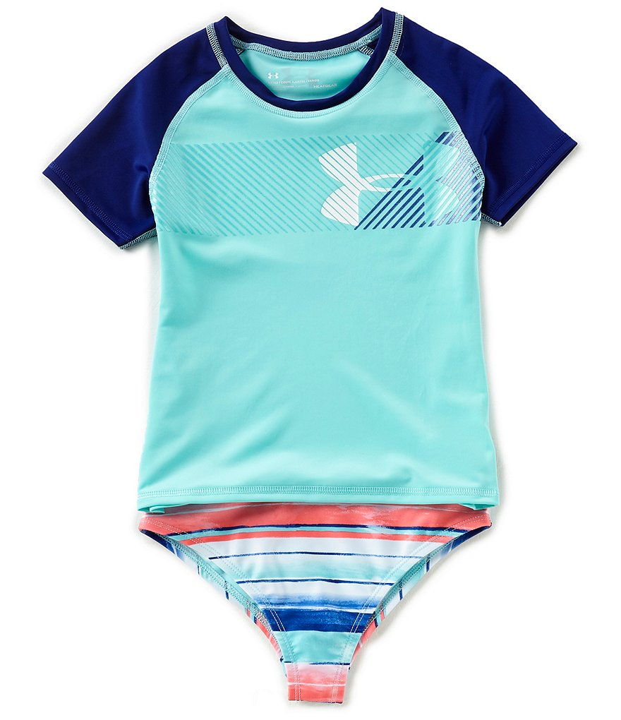 Under Armour Big Girls 7-16 Short-Sleeve Rashguard Top & Printed Bottoms 2-Piece Swimsuit