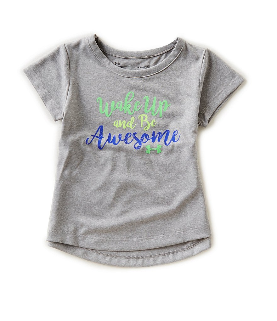 Under Armour Little Girls 2T-6X Wake Up and Be Awesome Tee