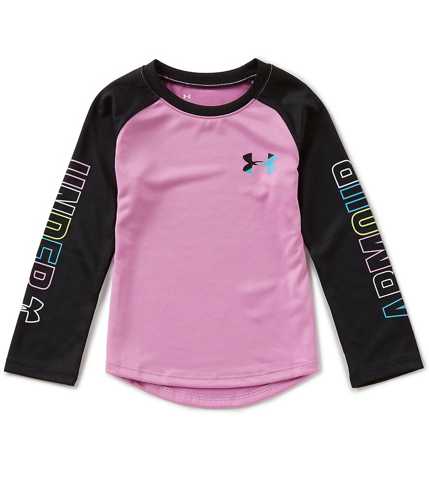Under Armour Little Girls 2T-6X Wordmark Long-Sleeve Tee