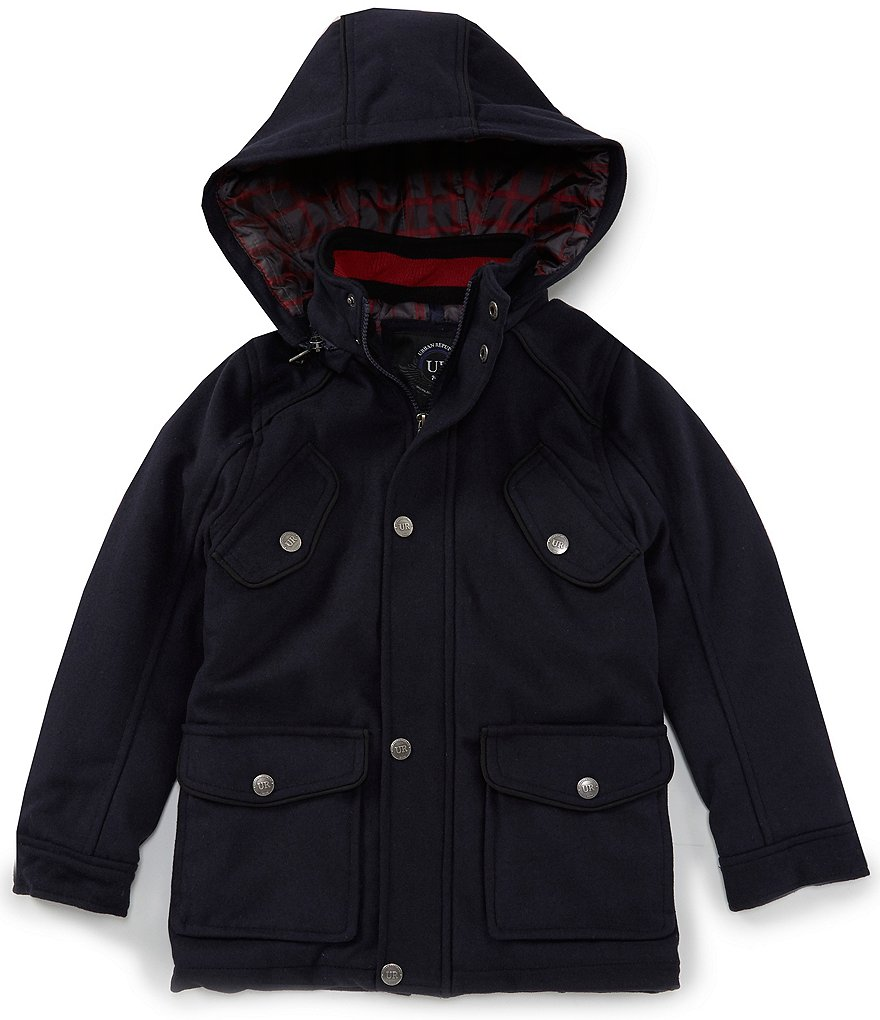 Urban Republic Big Boys 8-20 Detachable-Hood Wool Military Jacket