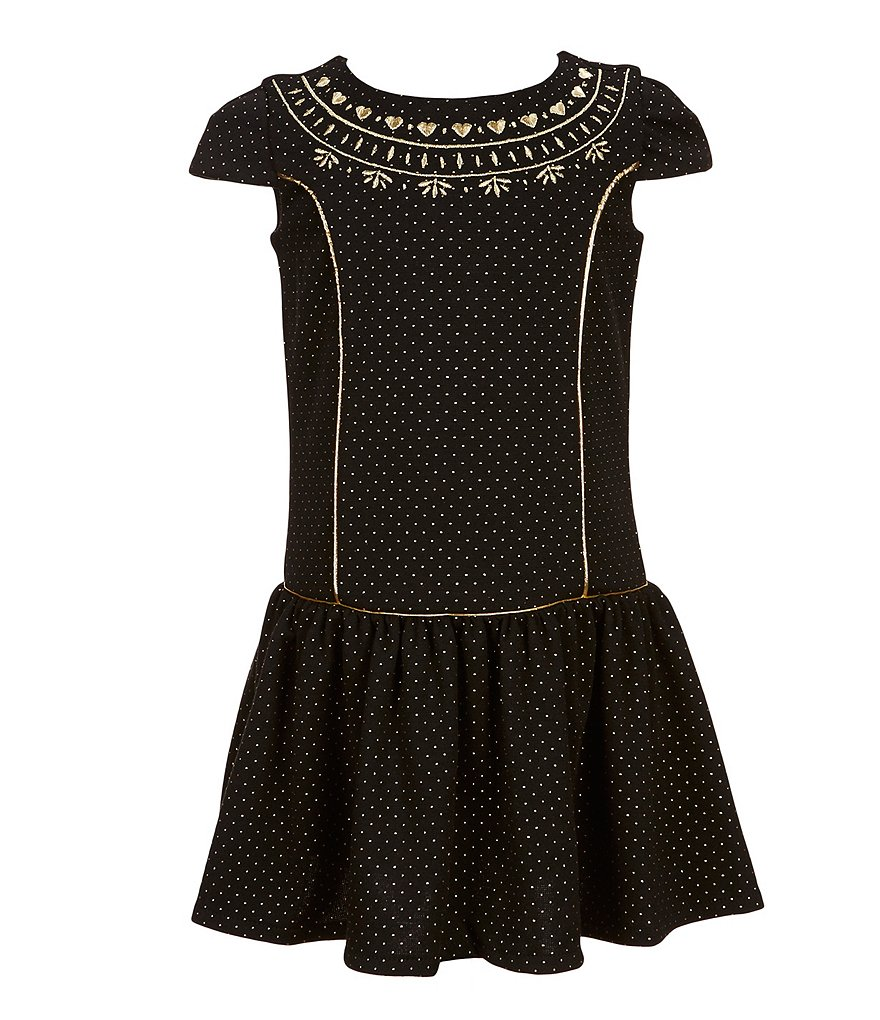 Us Angels Little Girls 2T-6X Short Sleeve Drop-Waist Dress