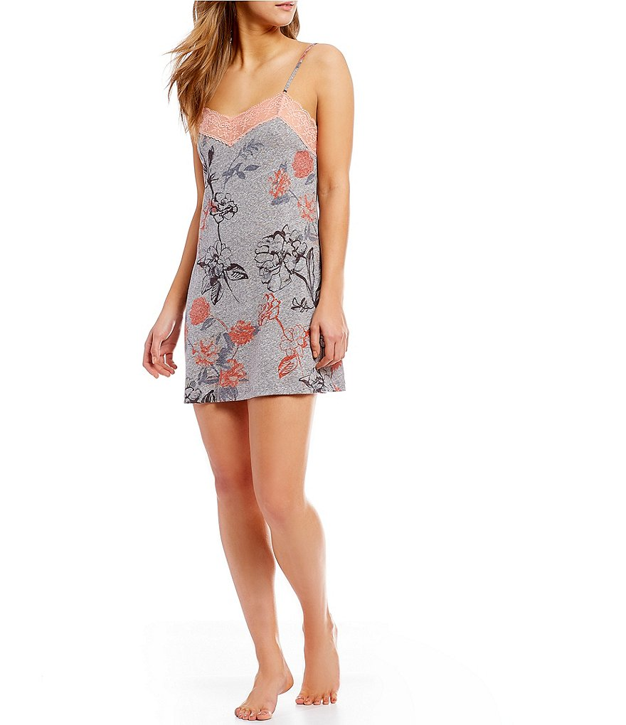 VAN WINKLE & CO. Large Floral-Print Jersey Chemise