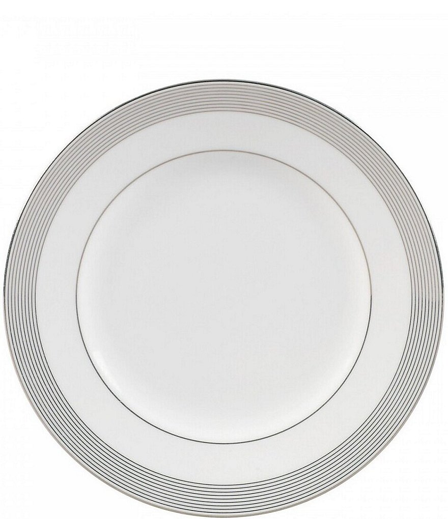 Vera Wang by Wedgwood Grosgrain Striped Platinum Bone China Accent Salad Plate