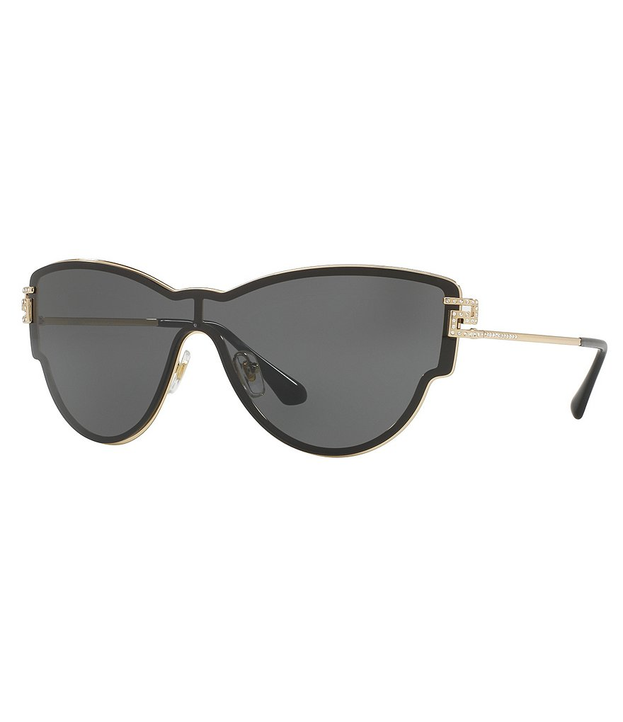 Versace Greca Strass Cat-Eye Shield Sunglasses