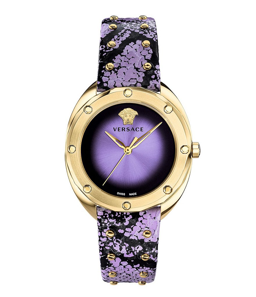 Versace Shadov Lavender Dial and Elaphe Strap Watch