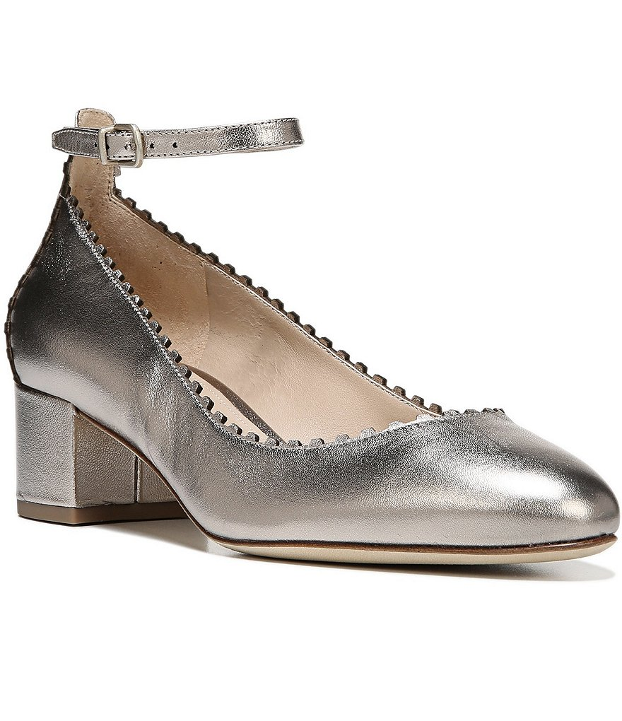 Via Spiga Dionne Mini Scalloped Metallic Leather Ankle Strap Pumps