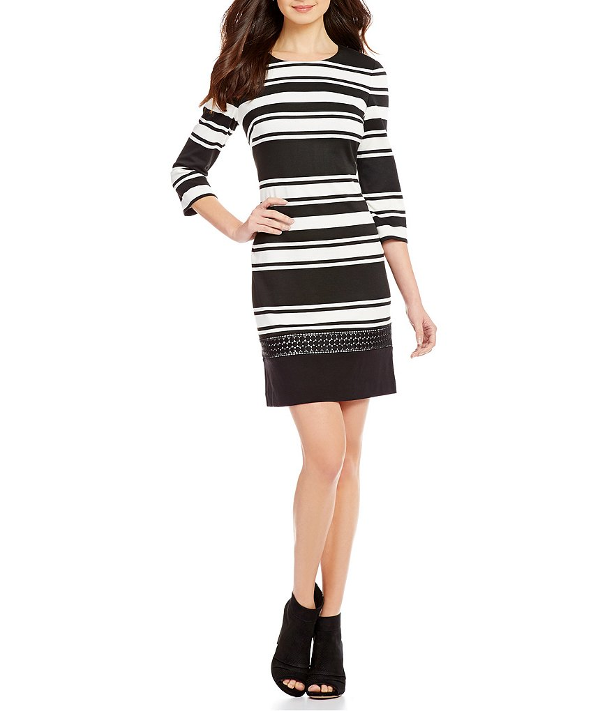 Vince Camuto 3/4 Sleeve Stripe Lace Dress