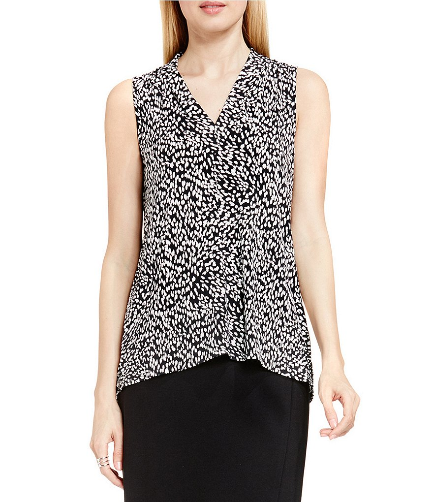Vince Camuto Animal Swirl Front Seam V-Neck Sleeveless Blouse