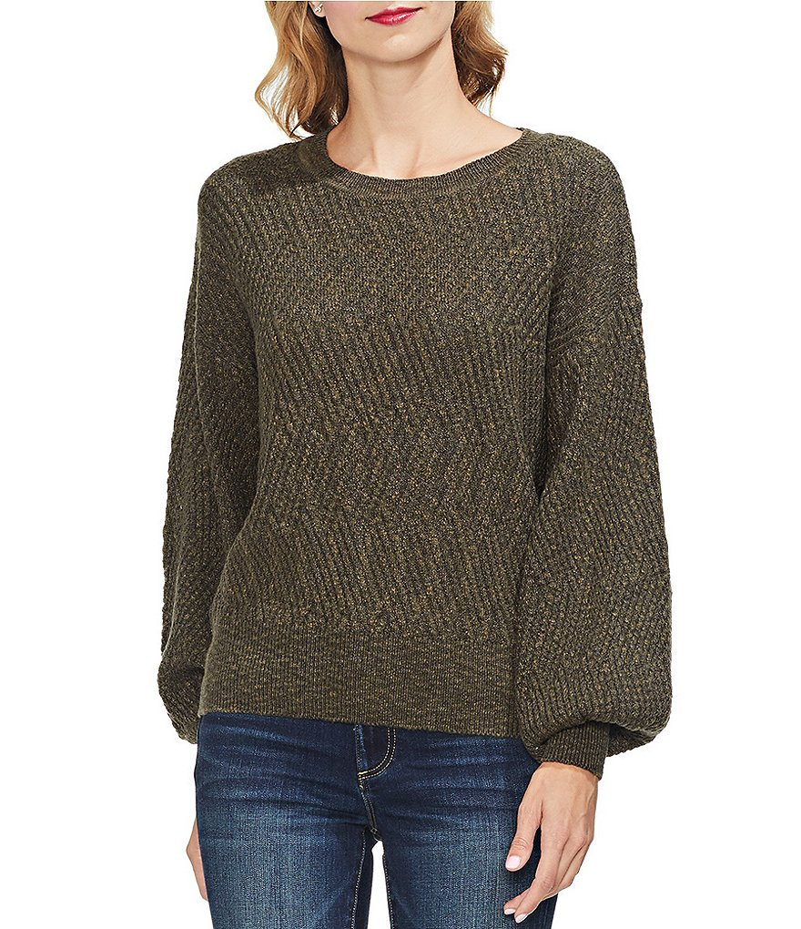 Vince Camuto Bishop Sleeve Novelty Textured Sweater