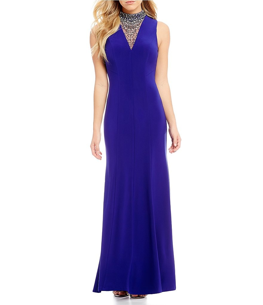 Vince Camuto Bead Mock Neck Gown