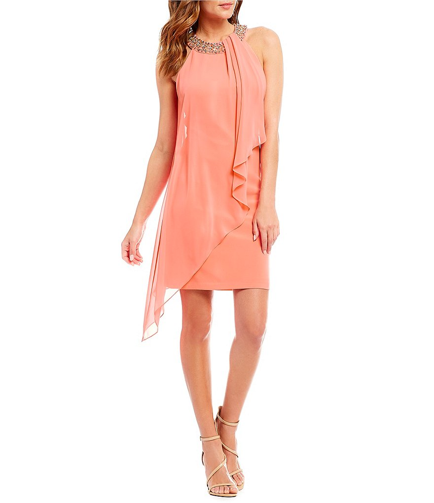 Vince Camuto Beaded Neckline Chiffon Overlay Dress