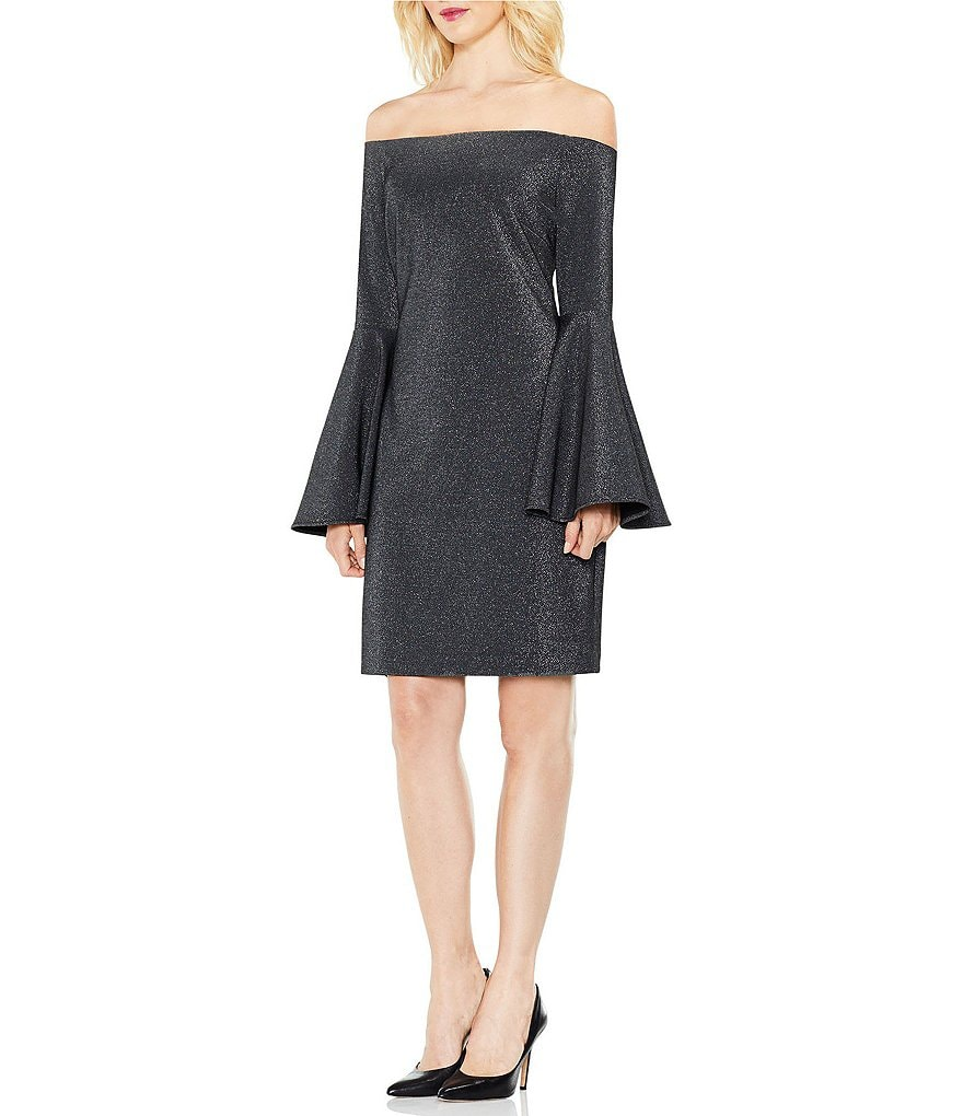 Vince Camuto Off the Shoulder Bell Sleeve Metallic Ponte Dress