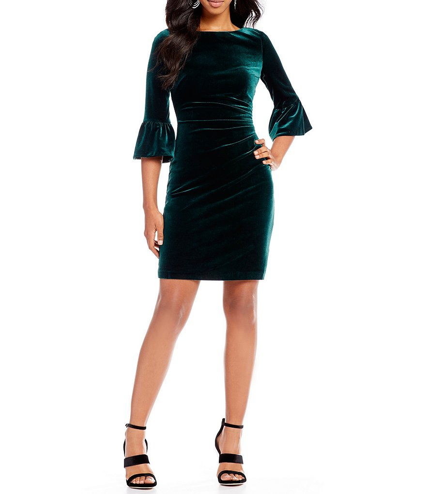 Vince Camuto Bell Sleeve Velvet Ruched Dress