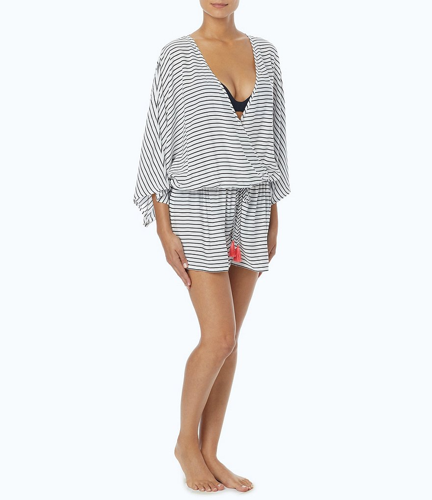 Vince Camuto Blossom Stripes Romper Cover-Up