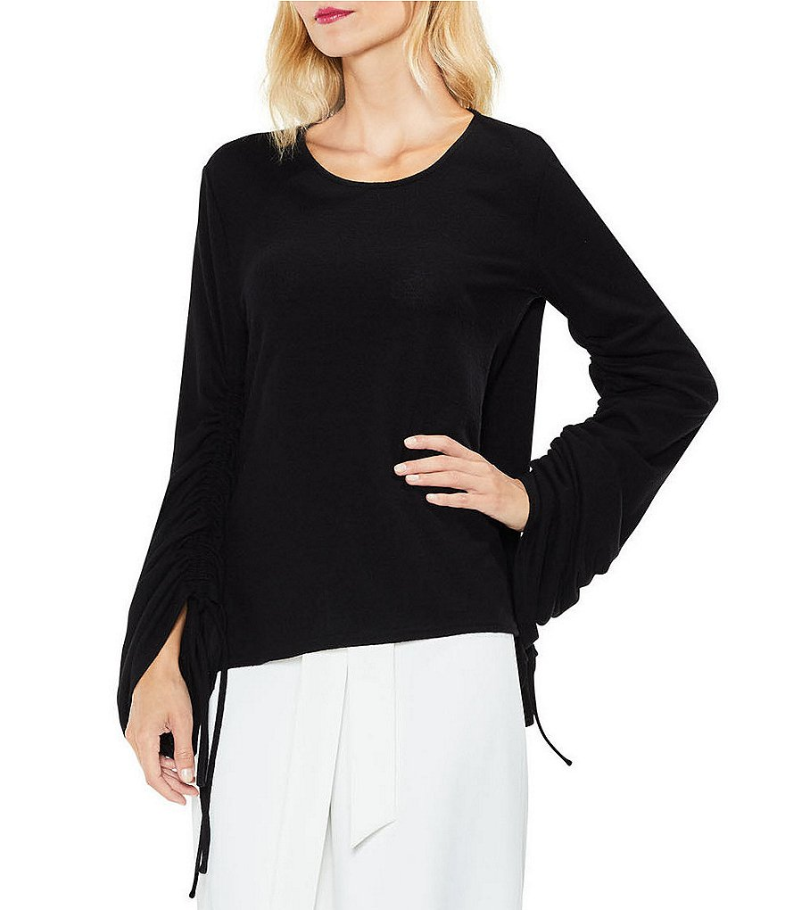 Vince Camuto Gathered Bell Sleeve Brushed Jersey Top