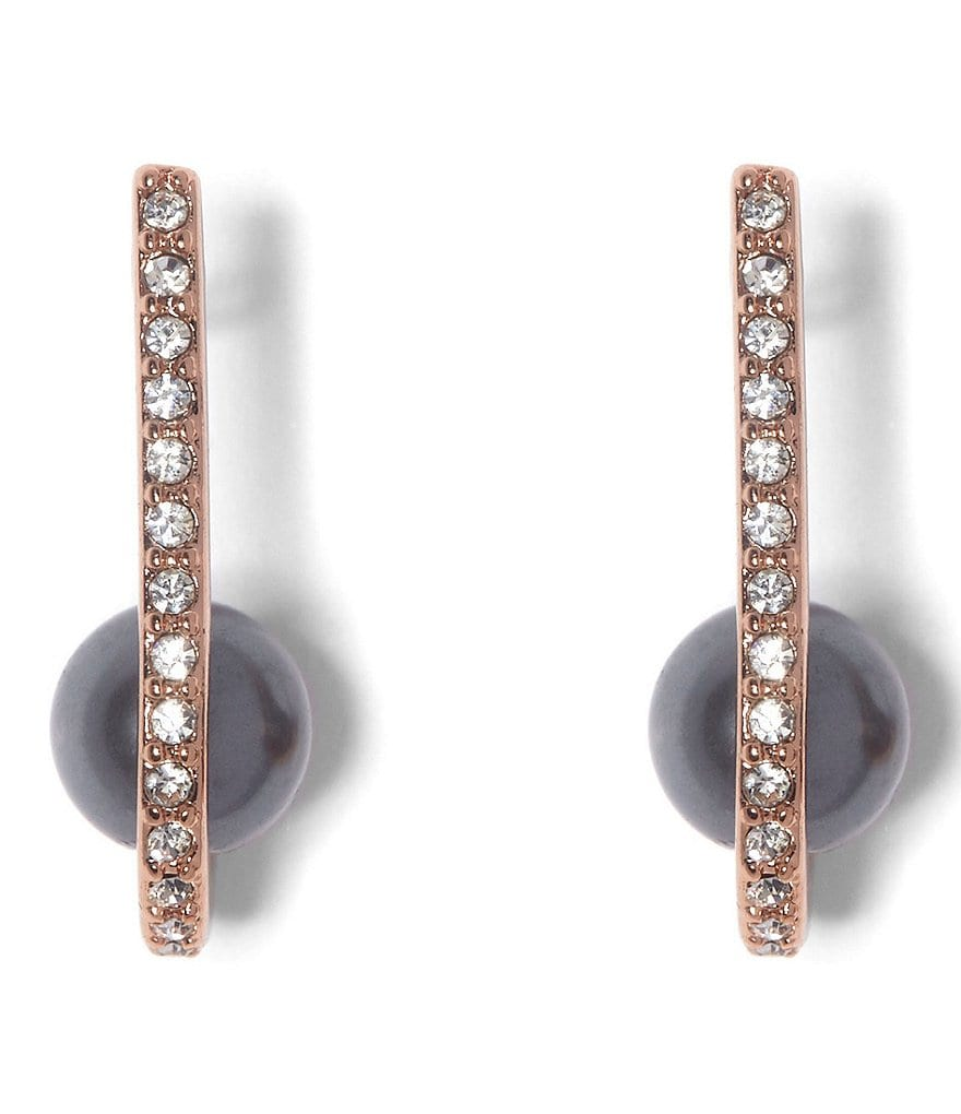 Vince Camuto Burnt Rose Gold Crystal Front/Back Earrings