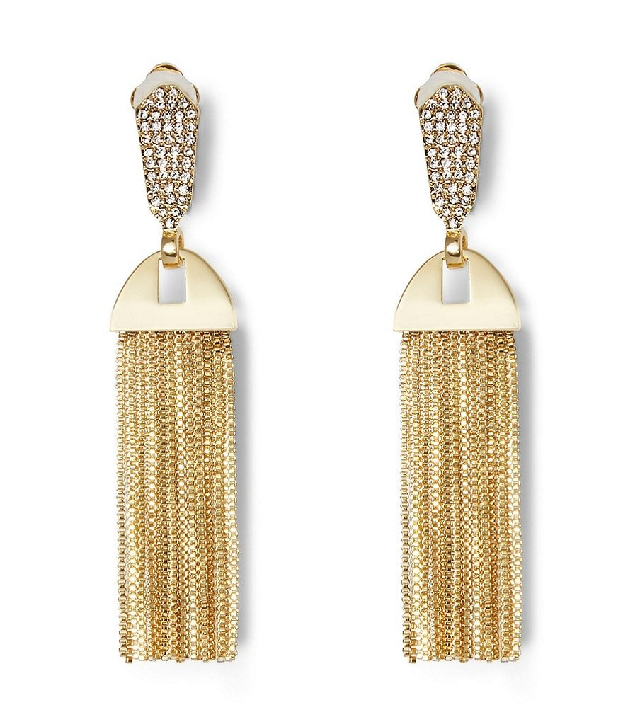 Vince Camuto Chain-Tasseled Pavé Clip-On Statement Earrings