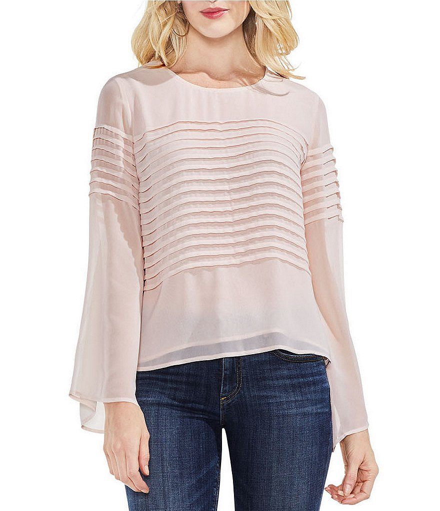 Vince Camuto Chiffon Bell Sleeve Pleated Stripe Blouse