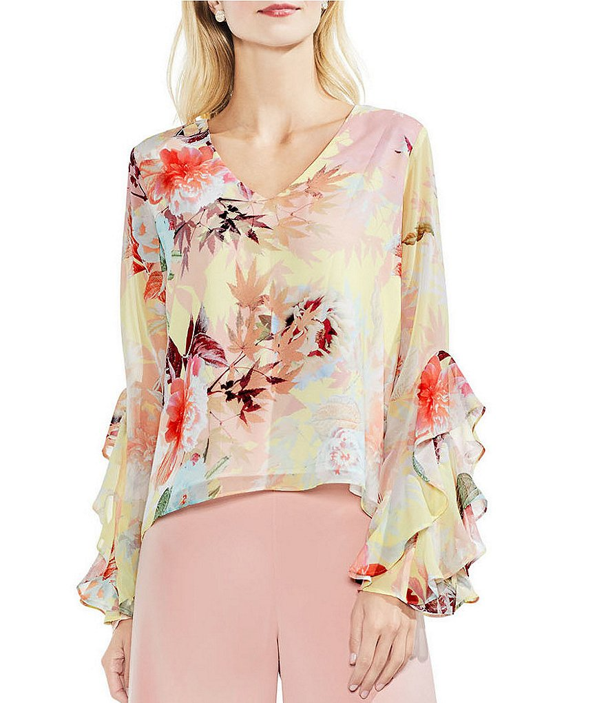 Vince Camuto Chiffon Faded Bloom Floral Print Ruffle Sleeve Top