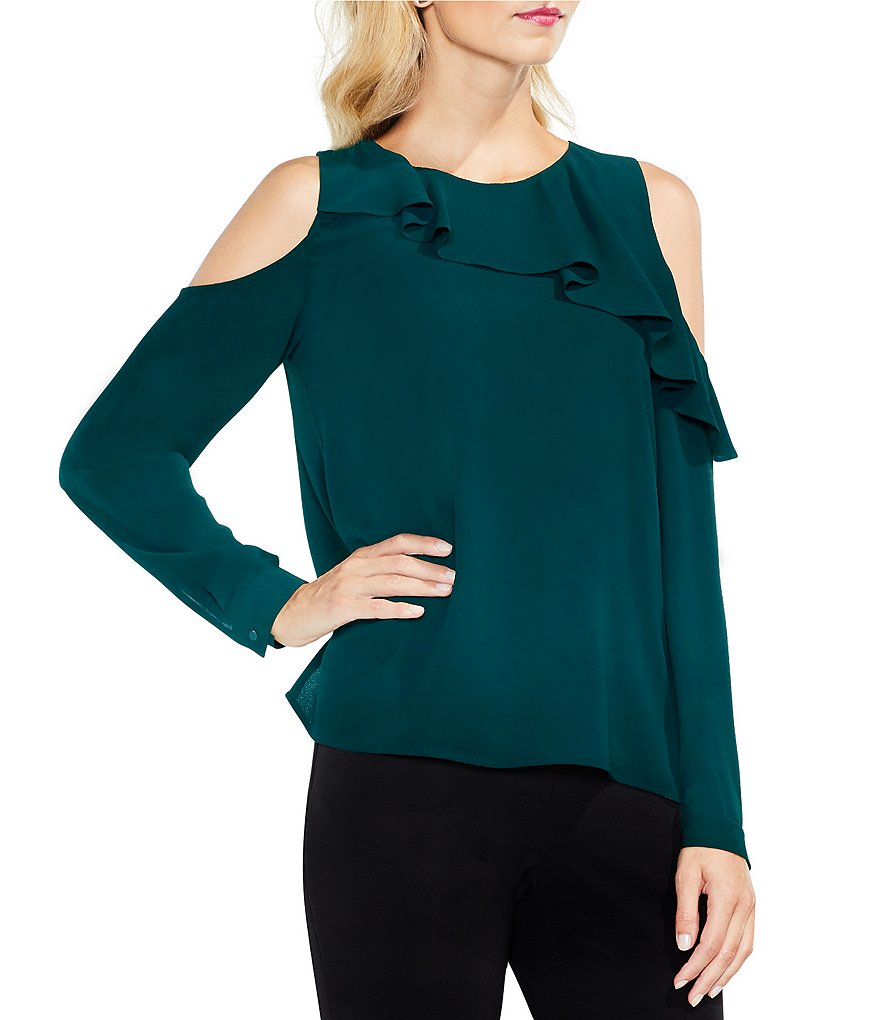 Vince Camuto Cold-Shoulder Asymmetrical Ruffle Blouse