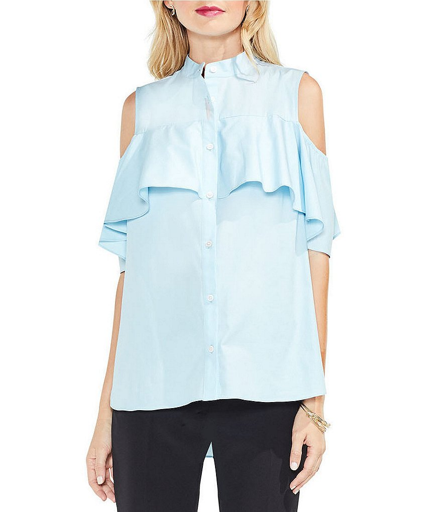 Vince Camuto Cold-Shoulder Ruffle Yoke Shirt