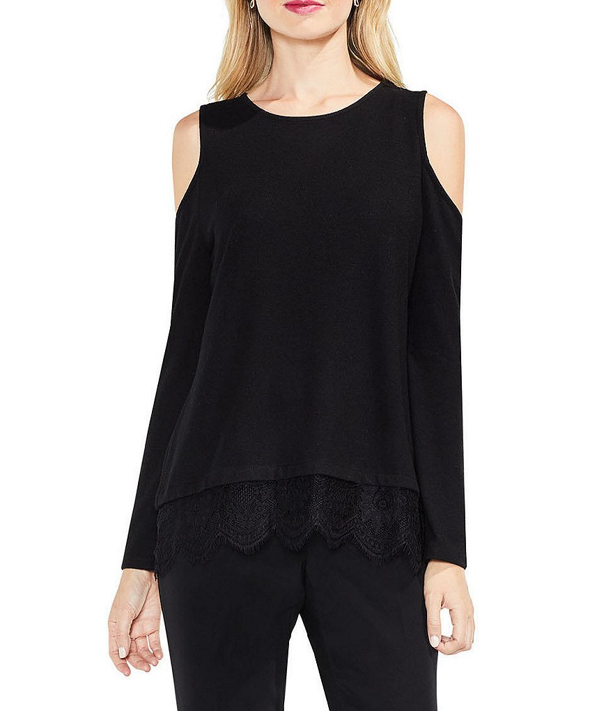 Vince Camuto Cold-Shoulder Top With Lace Detail