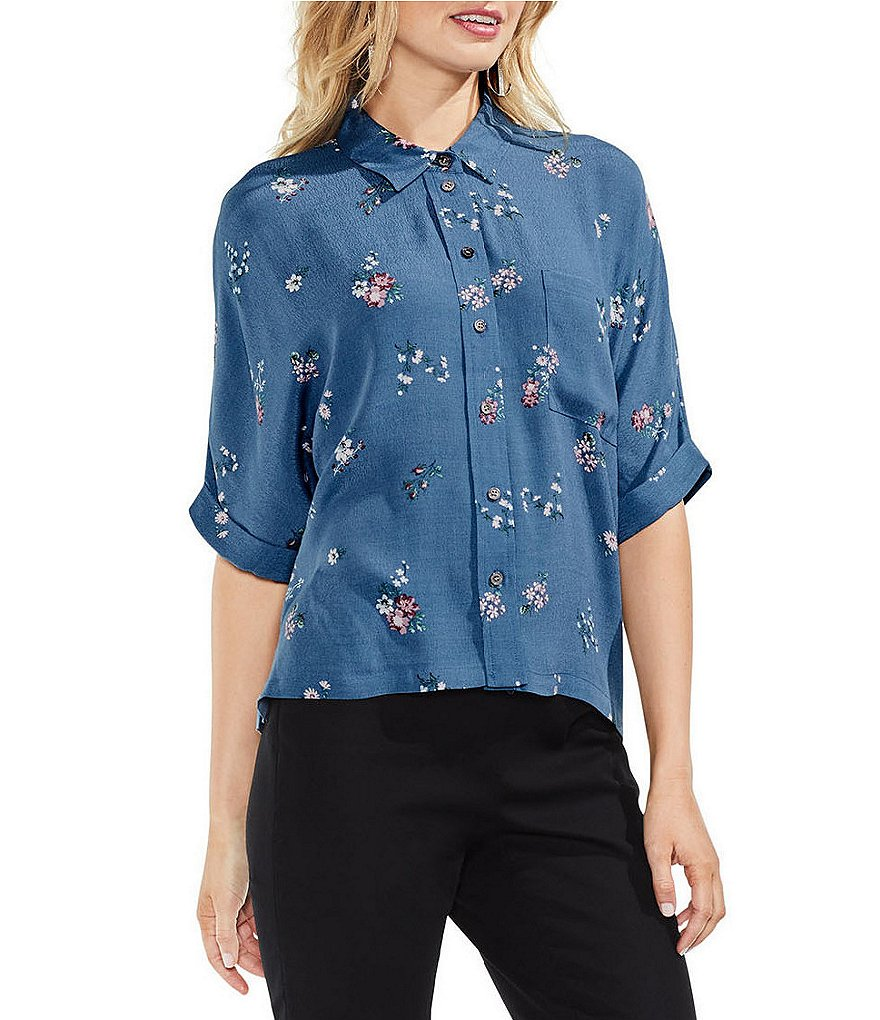 Vince Camuto Delicate Floral Button-Down Top