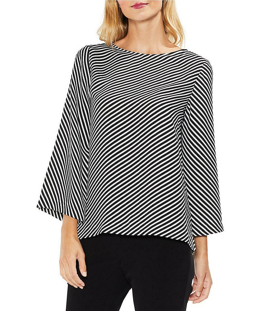 Vince Camuto Diagonal Striped Flare Sleeve Blouse
