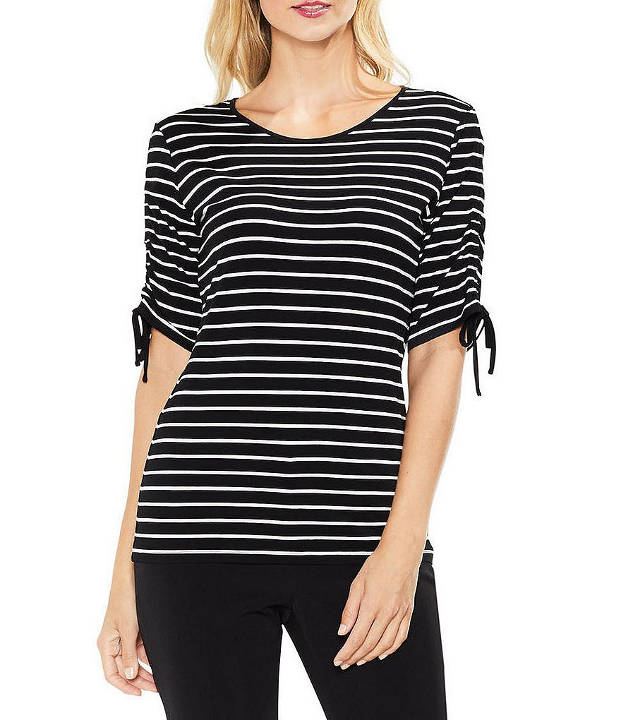 Vince Camuto Drawstring Sleeve Linear Stripe Top