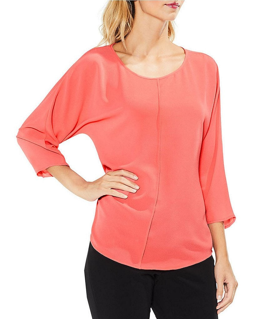 Vince Camuto Elbow Sleeve Center Front Seam Blouse