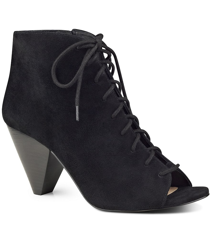 Vince Camuto Elisha Suede Lace-Up Peep Toe Booties