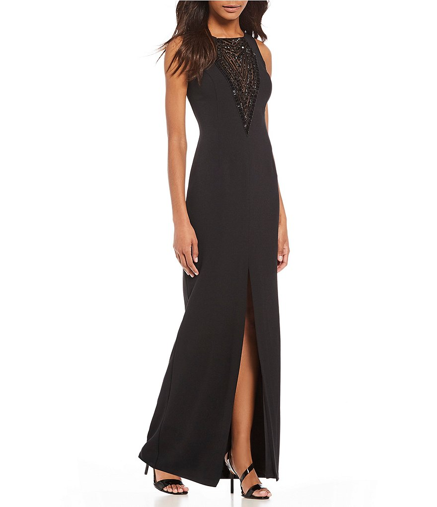 Vince Camuto Embellished Yoke Gown