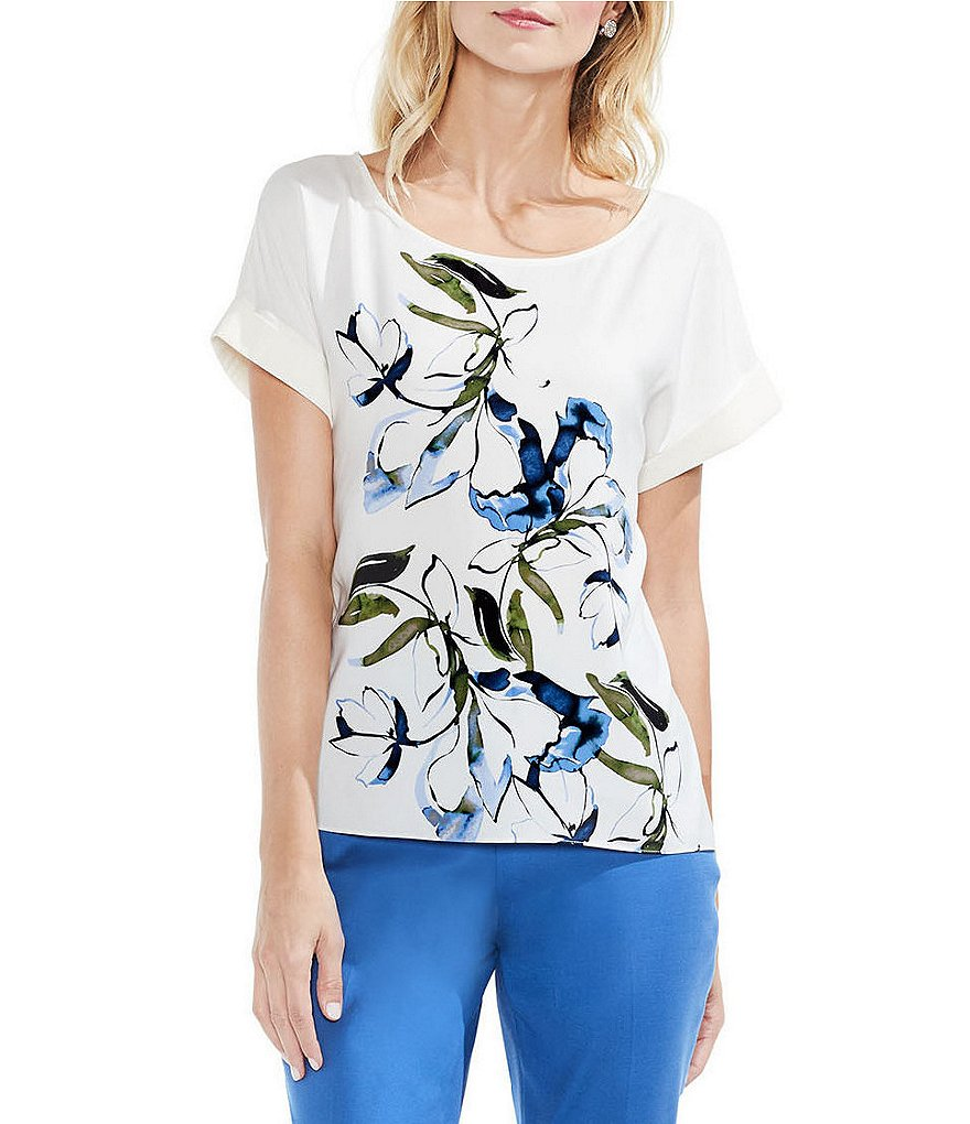 Vince Camuto Extended Shoulder Ink Portrait Print Blouse