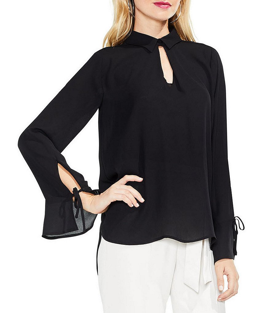 Vince Camuto Flare Tie Sleeve Keyhole Blouse