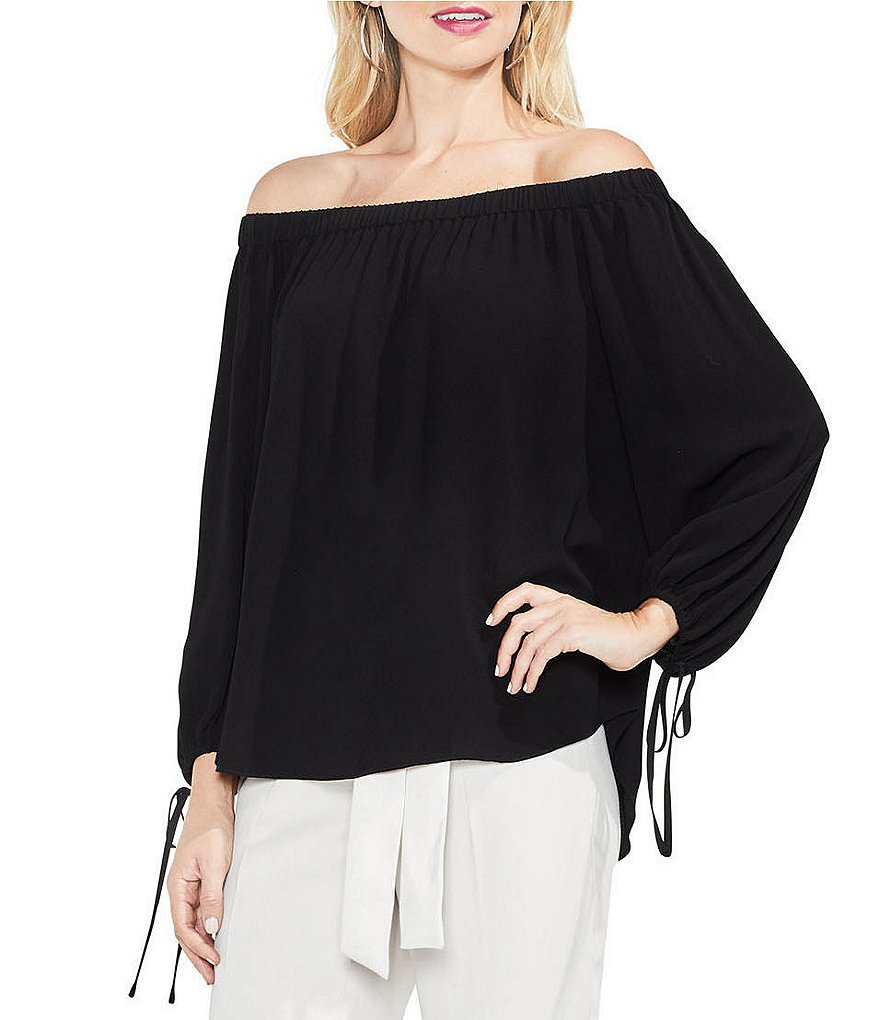 Vince Camuto Gathered Tie Sleeve Off-The-Shoulder Blouse