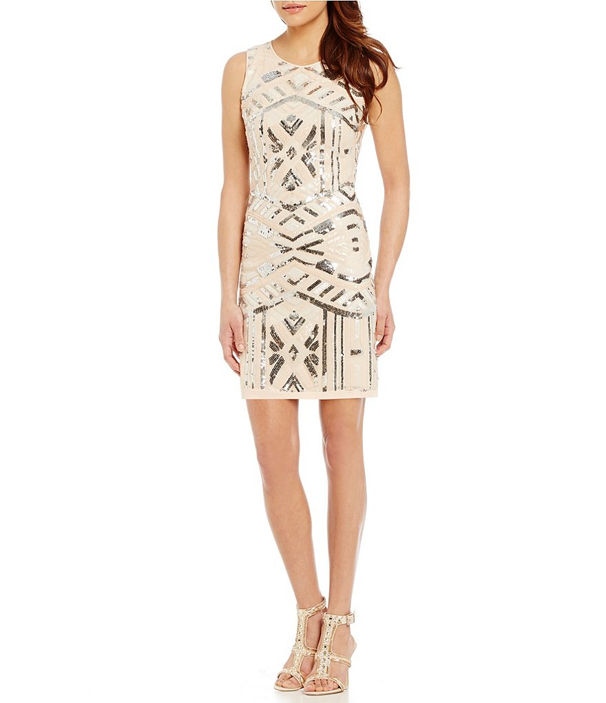 Vince Camuto Geometric Sequin Sheath Dress