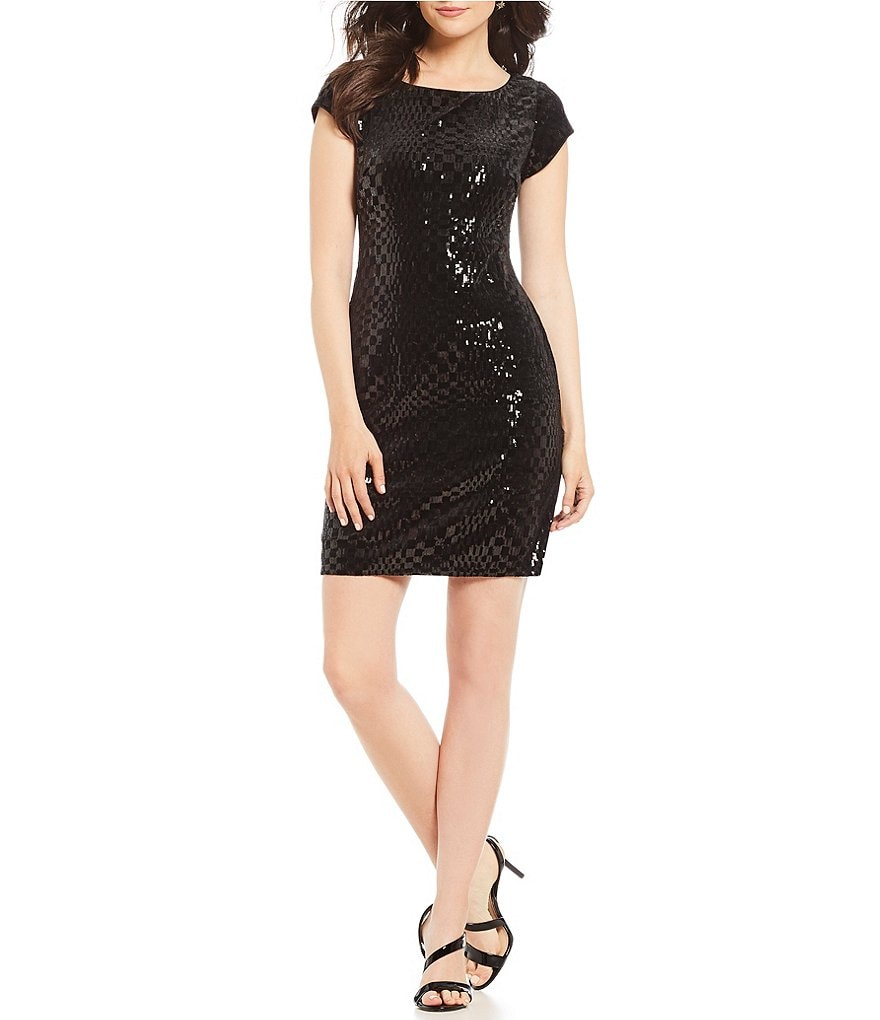 Vince Camuto Geometric Sequin Velvet Sheath Dress