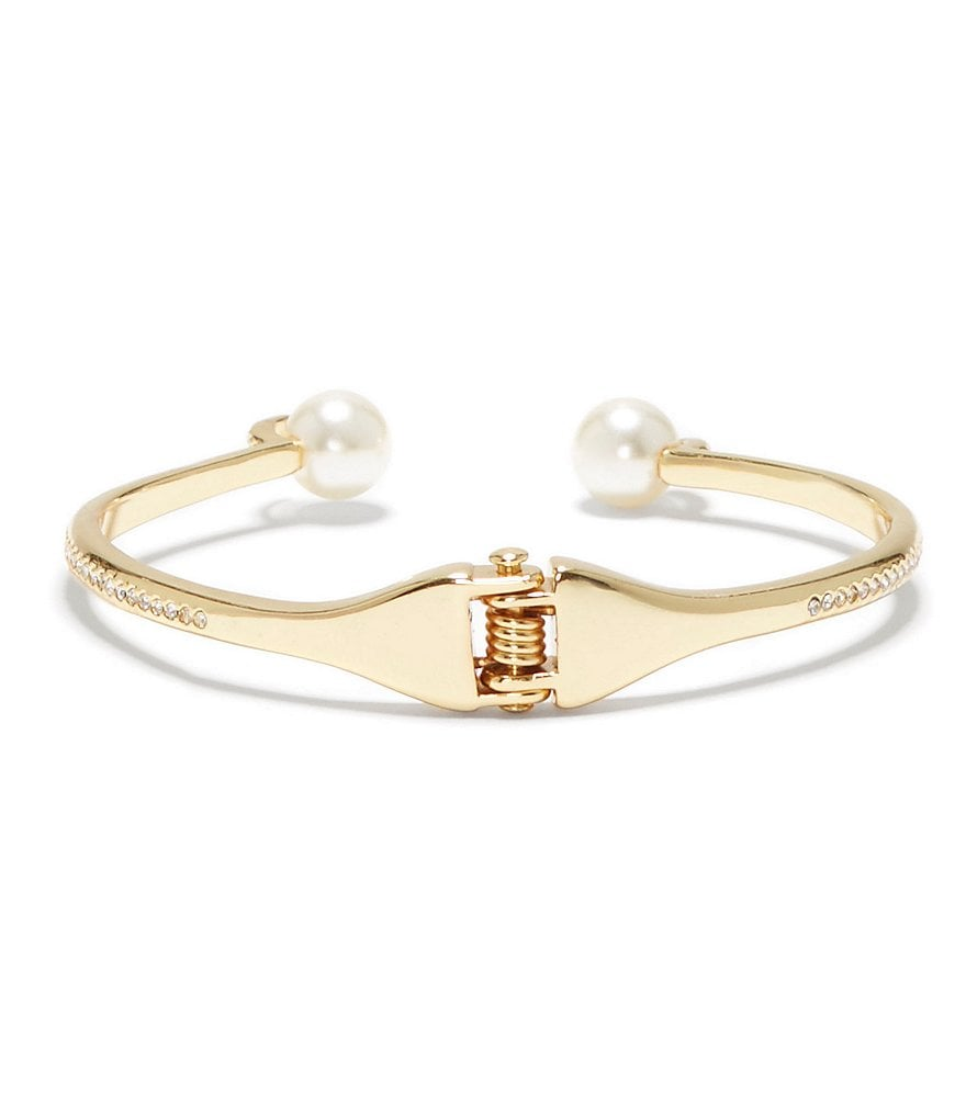 Vince Camuto Gold-Tone Ivory Pearl Hinge Cuff Bracelet