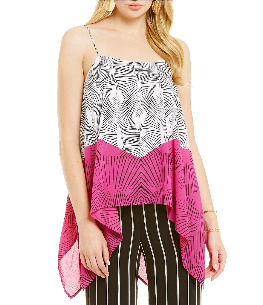Vince Camuto Graphic Fan Panel Drape Tank