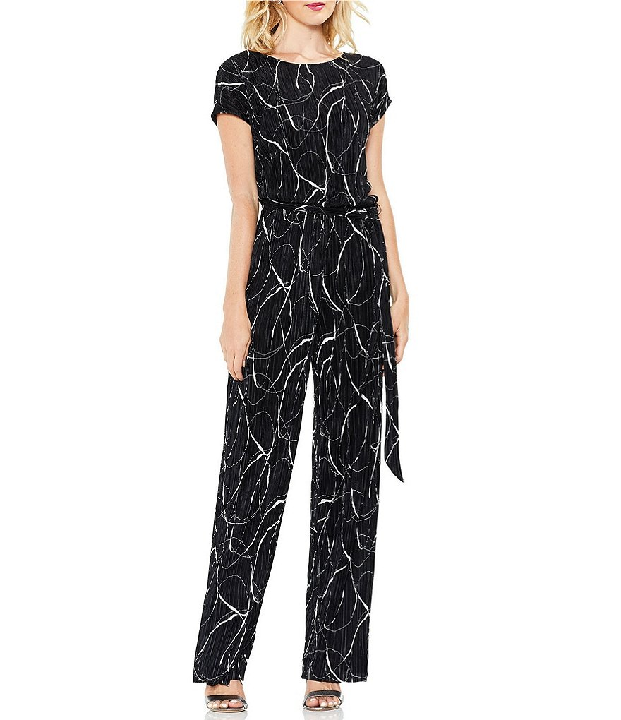 Vince Camuto Ink Swirl Pleated Jumpsuit