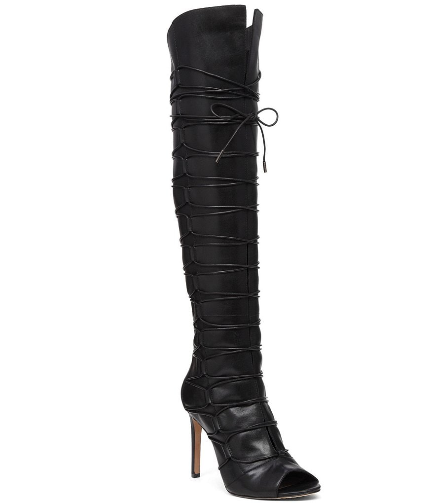 Vince Camuto Kesta Over The Knee Lace Up Peep Toe Boots