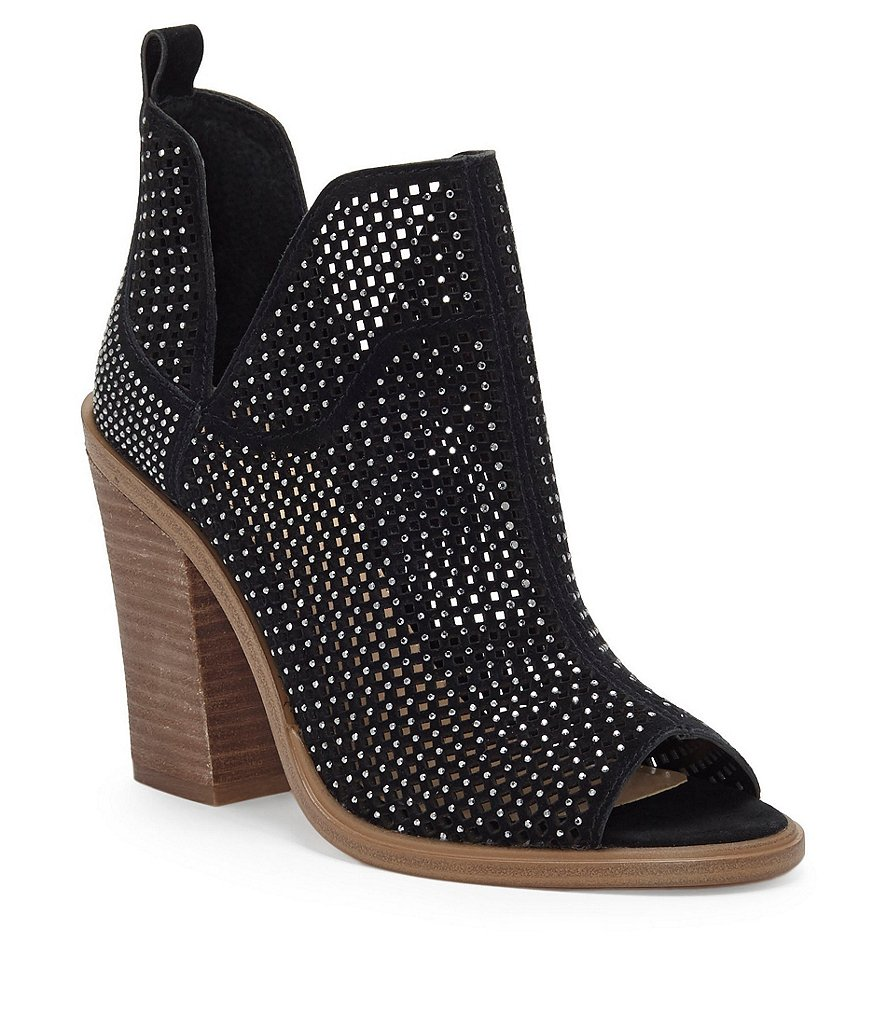Vince Camuto Kiminni Jeweled Perforated Suede Peep-Toe Block Heel Booties