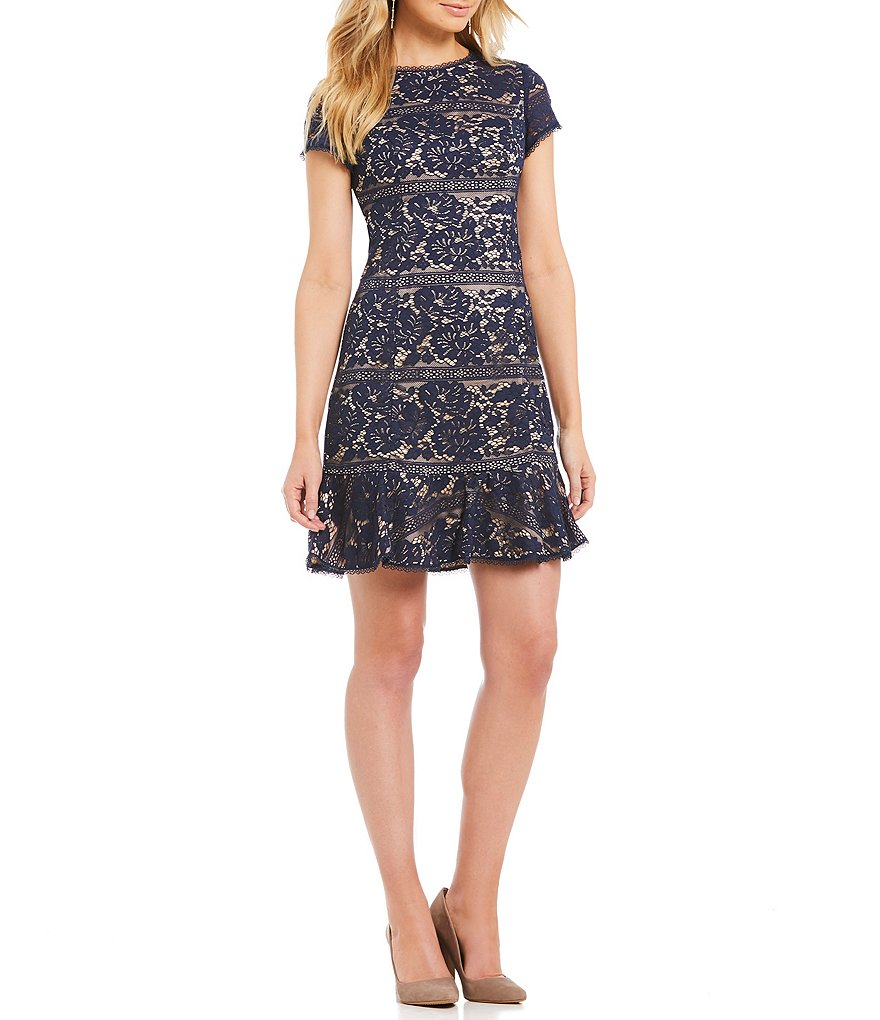 Vince Camuto Lace Ruffle Hem Dress
