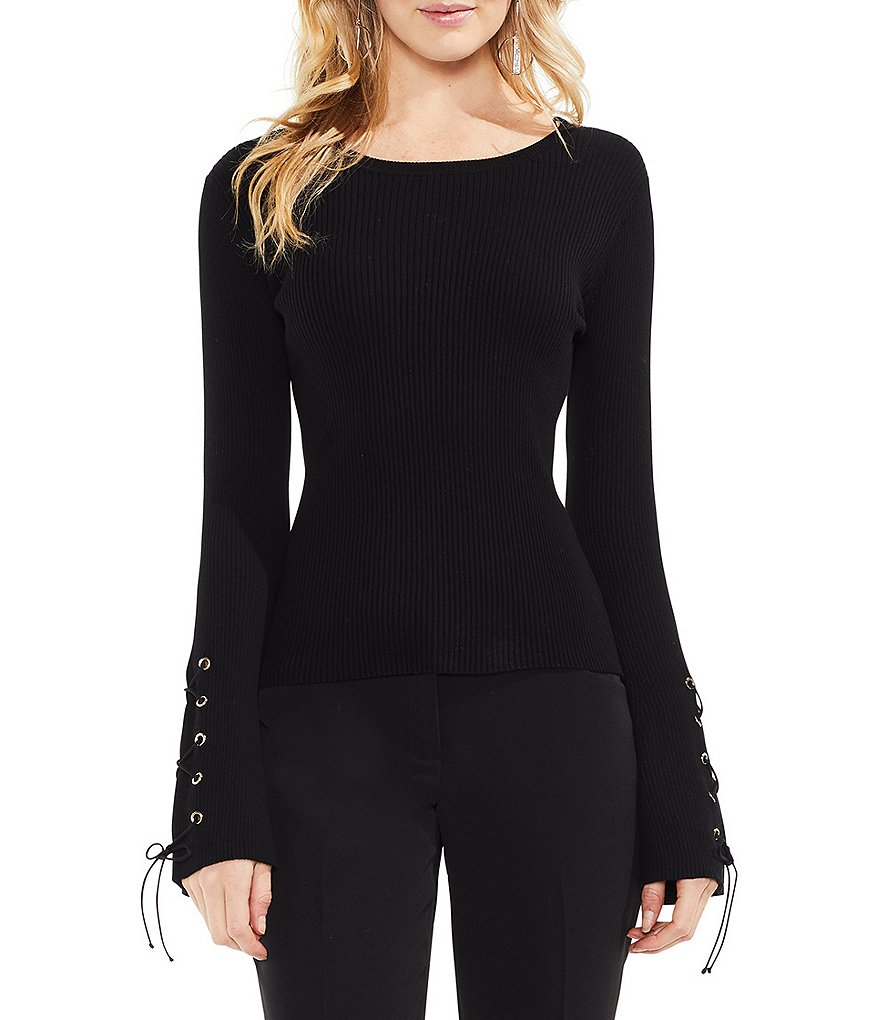 Vince Camuto Lace-Up Grommet Bell Sleeve Top