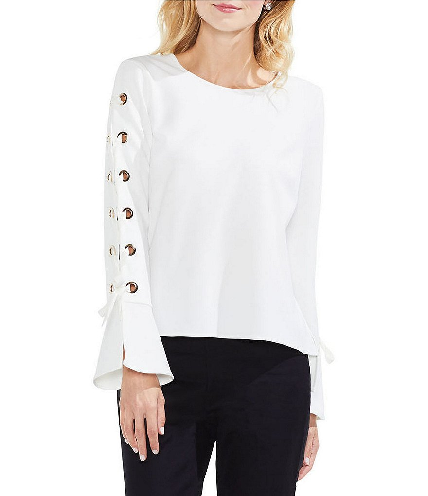 Vince Camuto Lace-Up Grommet Flared Cuff Crepe Ponte Blouse