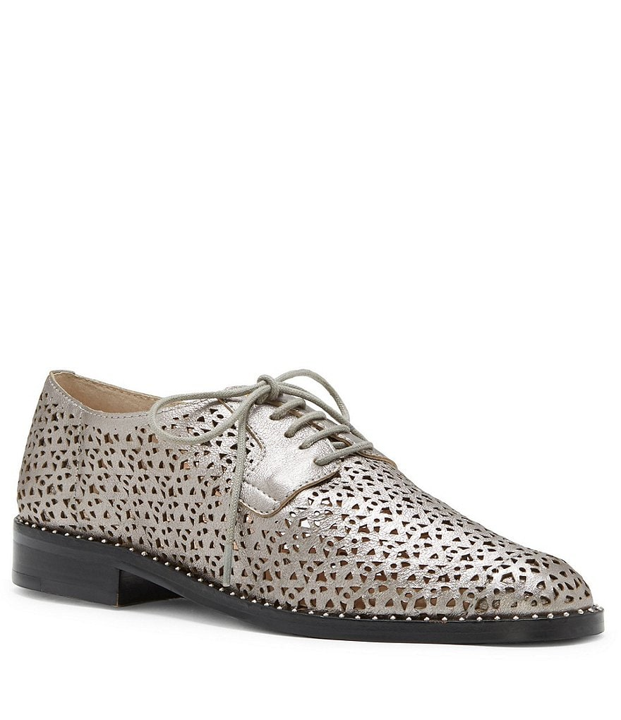 Vince Camuto Lesta Laser Cut Detail Block Heel Oxfords