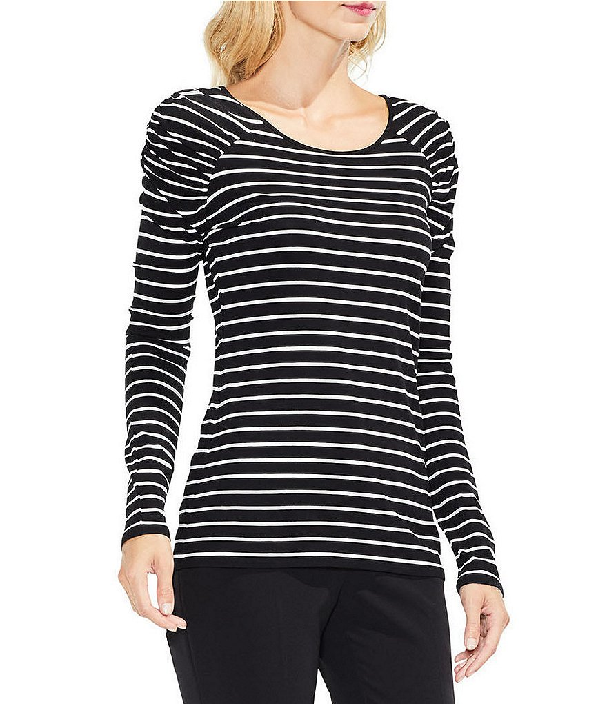 Vince Camuto Linear Step Stripe Ruched Shoulder Top
