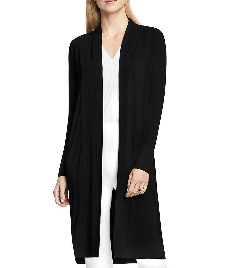 Vince Camuto Long Sleeve Open Front Maxi Cardigan with Side Slits
