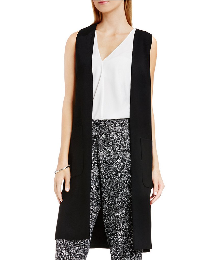 Vince Camuto Long Vest with Patch Pockets